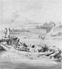 flußlandschaft mit booten by hendrik rietschoof