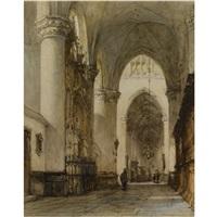 the grote kerk, breda (+ figures in a church interior; 2 works) by johannes bosboom