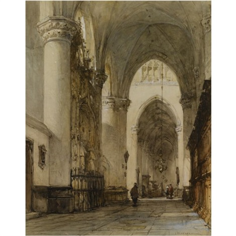 the grote kerk breda figures in a church interior 2 works by johannes bosboom