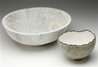 landscape bowl (+ hemispherical bowl; 2 works) by mary ann rogers