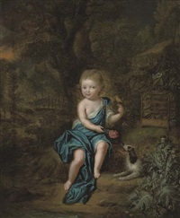 portrait of a young boy in a blue mantle fastened at his shoulder with a jewel, a canary perched on his left hand, a spaniel at his side by mattheus verheyden