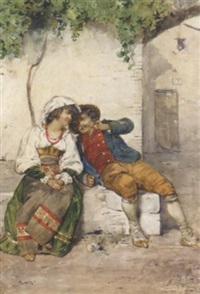 a young couple seated in a village square in regional dress by guiseppe riva