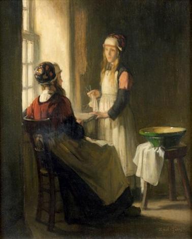 jeunes filles à leur couture by joseph bail