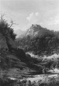 gebirgslandschaft mit hochgelegener burg und einer wäscherin by guido agostini