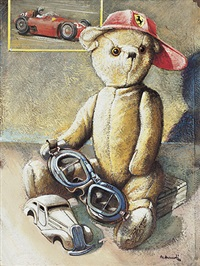 teddybär mit schirmmütze und rennfahrerbrille by daniel authouart