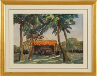 thatched shed in palms by jane peterson