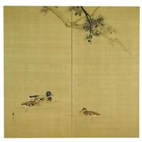 three ducks wading in water (two fold screen) by suzuki koson