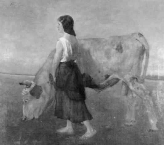 junge bäuerin mit blumengeschmückter kuh auf einer wiese by gottfried strasser
