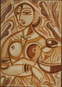 untitled-cubist portrait of a lady with a pot by i.a.k.c ihalagama