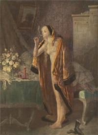 nattfjäril - interiör med rökande kvinna by heinrich rettig