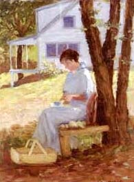 in the shade of the tree: woman cleaning fruit by william purcell macdonald