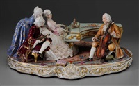 woman playing a harpsichord, gentleman with violin and cello, both in 18th century french attire by fabris-milano