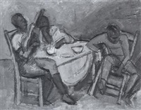 tischszene mit gitarrenspieler by carl ernst (karli sohn) sohn-rethel