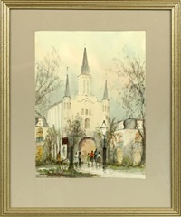 lively view of the st. louis cathedral, french quarter, new orleans by nestor fruge