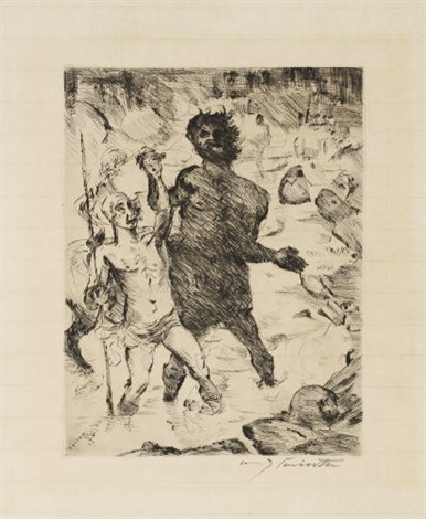 erziehung des achill from antike legenden by lovis corinth