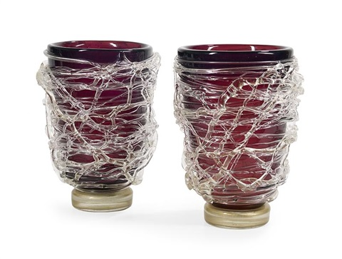 Pair Of Signed Sergio Costantini Murano Vases By Sergio Costantini