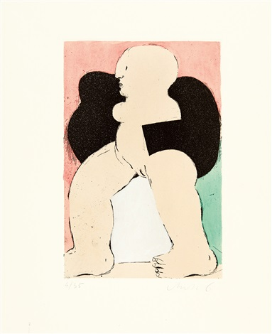 weibliche figur mit schwarzer boa nach links by horst antes
