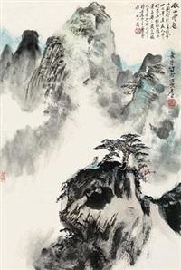 秋山云起 镜心 设色纸本 by xiao ping