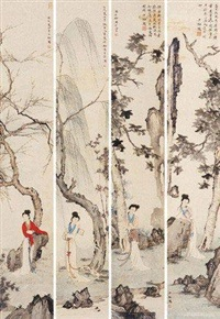 仕女 (in 4 parts) by chen shaomei