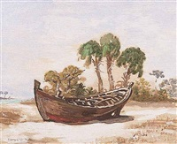 boat on a florida beach by george snow hill