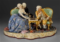 figures in 18th century french attire playing checkers, reading book or pursuing amorous interests by fabris-milano