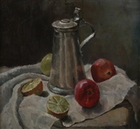 still life with fruit and pewter-lidded stein (+ portrait of elderly woman; verso) by countess marianne coreth