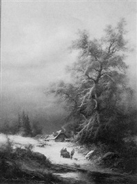 a panoramic winter landscape with figures by ludwig muninger