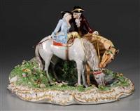 equestrian scene by fabris-milano