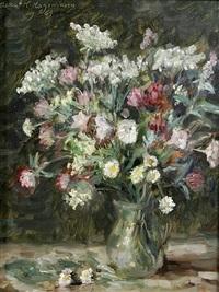 wiesenblumenstrauß in glasvase by oskar hagemann