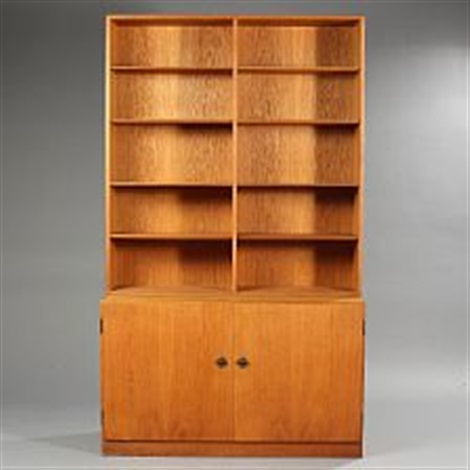 Oak Bookcase Cabinet With Two Doors Behind Which Pull Out Trays Upper Part