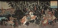 bataljscen (trptych) by utagawa yoshikazu