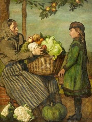 großmutter und enkelin mit einem gemüsekorb by hans thoma