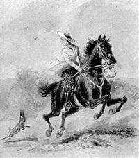 scheuendes pferd mit reiterin und hase by emil rumpf