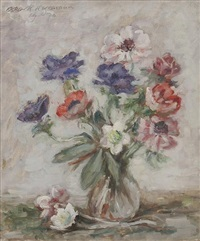 anemonenstrauß in glasvase by oskar hagemann