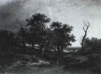 a woodland scene with a faggot gatherer by jane nasmyth
