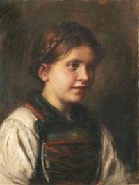 brustbild eines jungen mädchens in tracht by emma (edle von seehof) müller