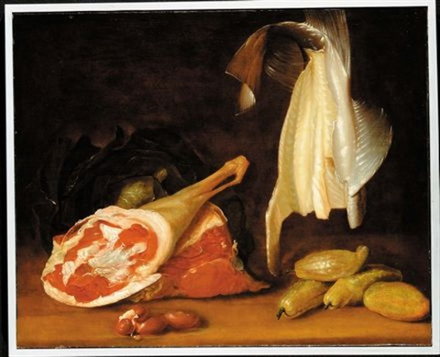 natura morta con carne pesce e verdura by jean baptiste siméon chardin