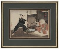 miyamoto musashi; tsulsahara bokuden teacher (diptych) by yoshitoshi