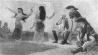 tanzende haremsdamen vor soldaten by lucien pierre sergent