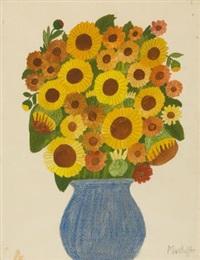 sonnenblumen in blauer vase by max raffler