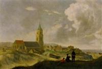 dorf mit kirche in holländischer dünenlandschaft by jan ten compe