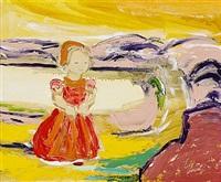 liten flicka i landskap by gunnar loberg