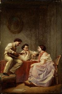 junge dame im beisein zweier junger männer im salon bei gitarrenmusik by victor mongodin