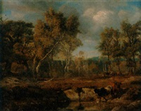bewaldete landschaft mit kühen am teich by johann jakob stadler