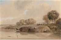 loading the barge with wood (+ fisherboy; 2 works) by joseph william allen