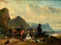 rastende jagdgesellschaft in landschaft mit bergen und see by joseph jodocus moerenhout