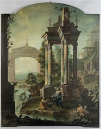 paesaggi con architetture e figure (pair) by carlo lodi