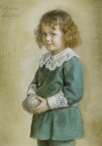 portræt af pige med bold by arthur ludwig ratzka