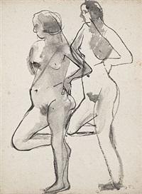 zwei weibliche akte, auf einem bein stehend (dbl-sided) by frida löber