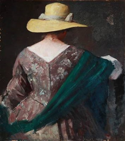 back turned lady with a yellow summer hat flowered dress and green shawl by herman albert gude vedel